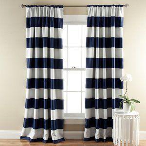 Half Moon Room Darkening Stripe Navy Curtains